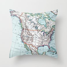 Colorful Vintage North America Map Throw Pillow