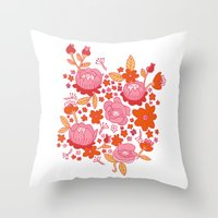 Floral Folk Throw Pillow