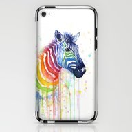 Zebra Rainbow Watercolor iPhone & iPod Skin