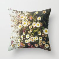 Wall of Daisies Throw Pillow
