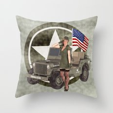 Army Blonde Pinup Throw Pillow