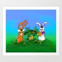 Happy Easter! Rabbit Wit… Art Print