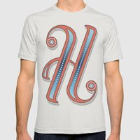 Letter H Mens Fitted Tee Silver SMALL