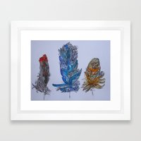 Feathers Zentangled Framed Art Print
