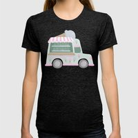 Ice Cream Truck Womens Fitted Tee Tri-Black SMALL