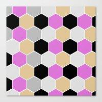 Purple & Gray Honey Comb Canvas Print