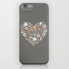 Floral Heart - in Charcoal Slim Case iPhone 6s
