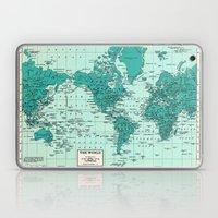 World Map in Teal Laptop & iPad Skin