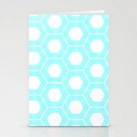 Nieuwland Powder Blue Hexagons Pattern Stationery Cards