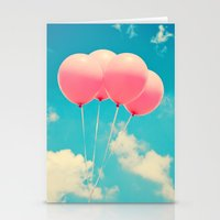 Pink Balloons on Deep Blue  Stationery Cards