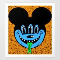 REPTILIAN MICKEYES. (Blue Face). Art Print
