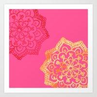 Happy Bright Lace Flower Art Print
