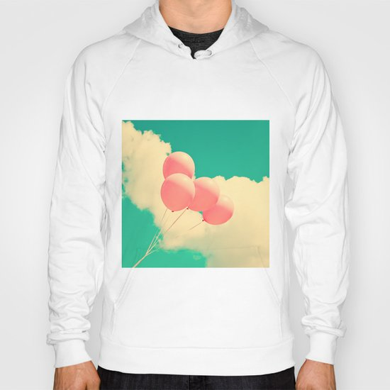 Happy Pink Balloons on retro blue sky  Hoody