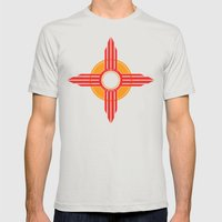 New Mexico Zia - Red Mens Fitted Tee Silver SMALL