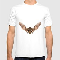 Brown PolyBat  Mens Fitted Tee White SMALL