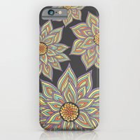 iPhone Cases featuring Floral Rhythm In The Dark by Pom Graphic Design