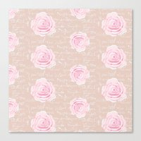 Watercolor Roses on Blush with French Script Canvas Print