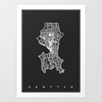 seattle Art Prints featuring SEATTLE  by Nicksman