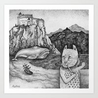 The Whale, The Castle & The Smoking Cat Art Print