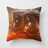 Fire with Horses Throw Pillow