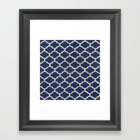 VINTAGE in NAVY Framed Art Print