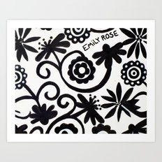 doiley flowers - white Art Print