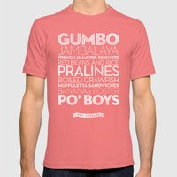 New Orleans — Delicious City Prints Mens Fitted Tee Pomegranate SMALL