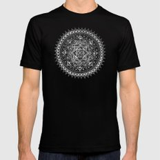 White Flower Mandala on Black SMALL Black Mens Fitted Tee