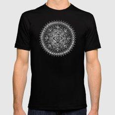 White Flower Mandala on Black MEDIUM Black Mens Fitted Tee