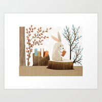 The Bookish Forest: Bunny Art Print