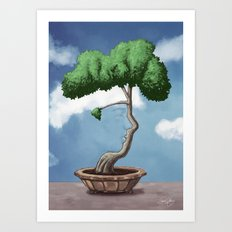 'Bonsai choose own way grow because root strong' (Daniel version) Art Print