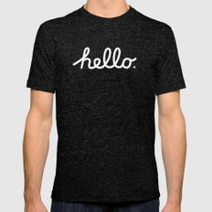 Hello: The Macintosh Office (Beige) Mens Fitted Tee Tri-Black SMALL