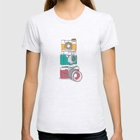 Stacked Cameras Womens Fitted Tee Ash Grey SMALL