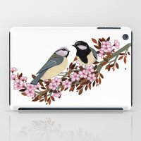 Chickadee Couple on Cherry Branch iPad Case