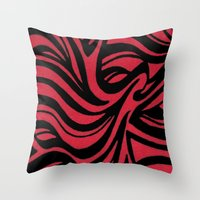 Red & Black Waves Throw Pillow