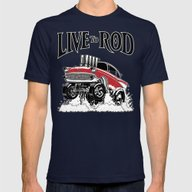 1957 CHEVY CLASSIC HOT R… Mens Fitted Tee Navy SMALL