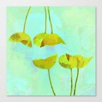 6 Yellow Flowers On Turq… Canvas Print