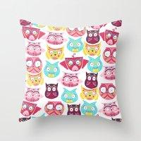 Ornate Owls Throw Pillow