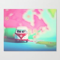 Red & White VW Bus Canvas Print