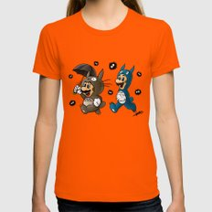 Super Totoro Bros. Alternative Womens Fitted Tee Orange SMALL