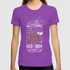 Typography Beer - Fourth of July Womens Fitted Tee Ultraviolet SMALL