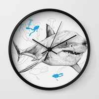 'Sharks & Silhouettes' Wall Clock