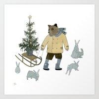 Bear, Christmas Tree And… Art Print