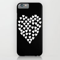 Hearts on Heart White on Black iPhone 6 Slim Case