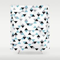 Triangles Ice Blue Shower Curtain