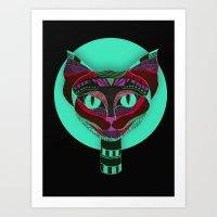 Black CAT- Black Art Print