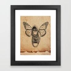 Flying sneakers Framed Art Print