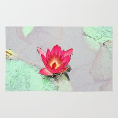 art style pretty pink waterlily flower  Rug