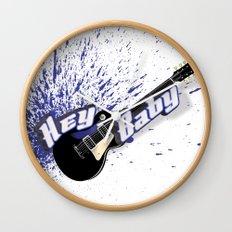 Hey Baby Guitar Wall Clock