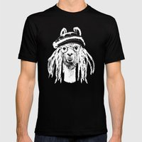 Funky Llama Mens Fitted Tee Black SMALL